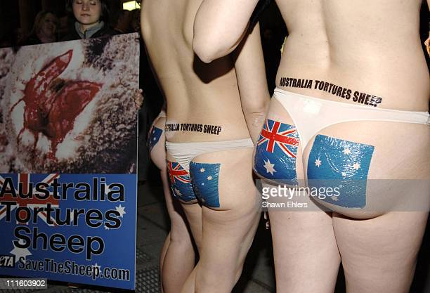 Protesters during PETA Crashes Aussie Ball at Cipriani's 42nd St in New York City NY United States