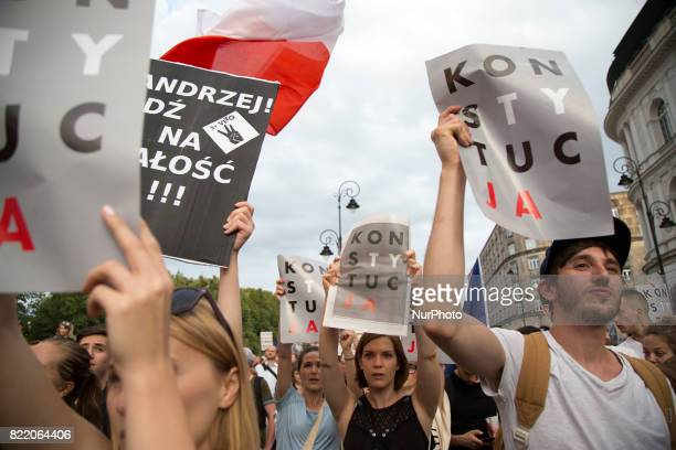 Protesters during protest against government plans of changes to Polands judicial system in Warsaw on July 25 2017