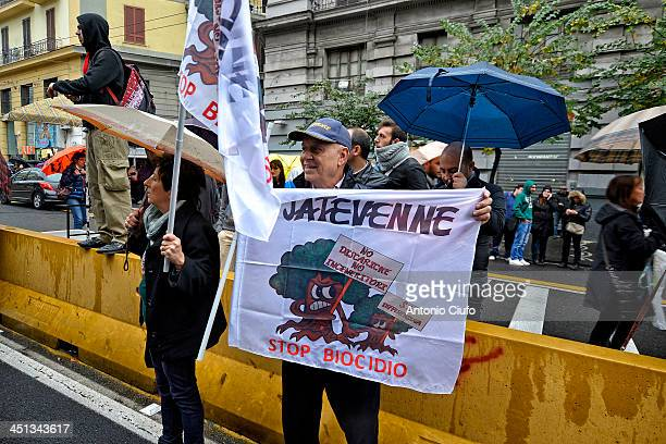 Protesters during protest march called 'river in flood - stop biocide' against the illegal dumping of waste. Around the city of Naples many illegal...
