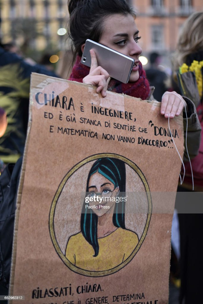 Protesters during the global strike on women's day which was...