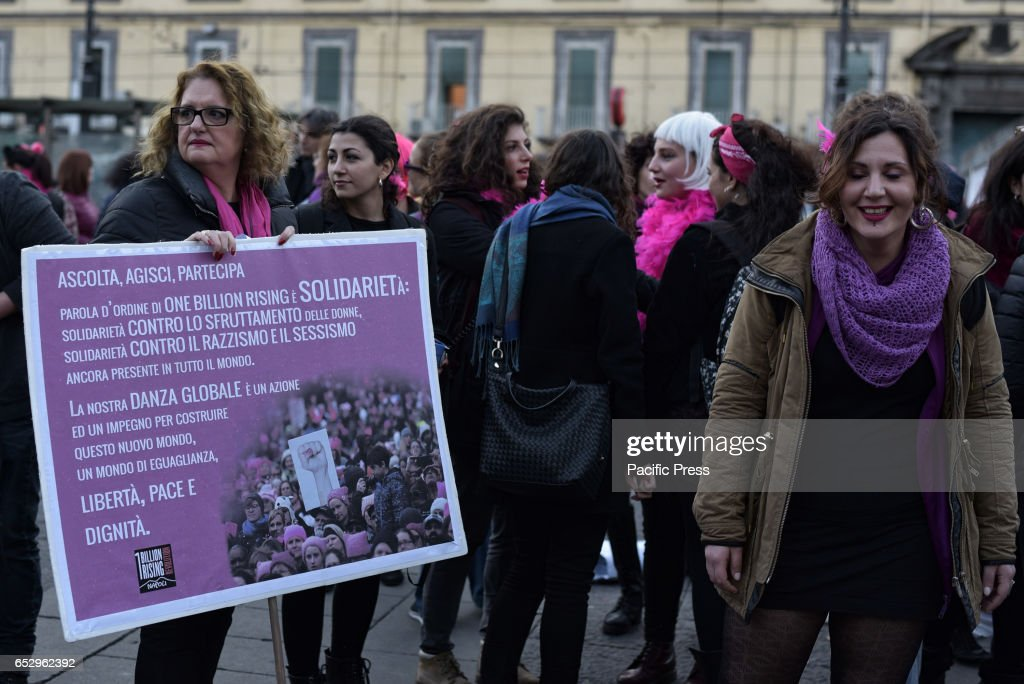 DANTE, NAPLES, NAPOLI, ITALY - : Protesters during the global strike on women's day which was held in Naples.