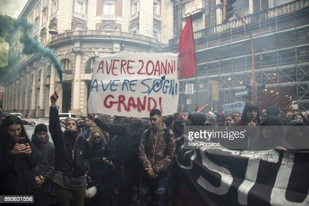 Protesters during the march near the headquarters of the newspaper Il Mattino during the demonstration in the streets of Naples against the...