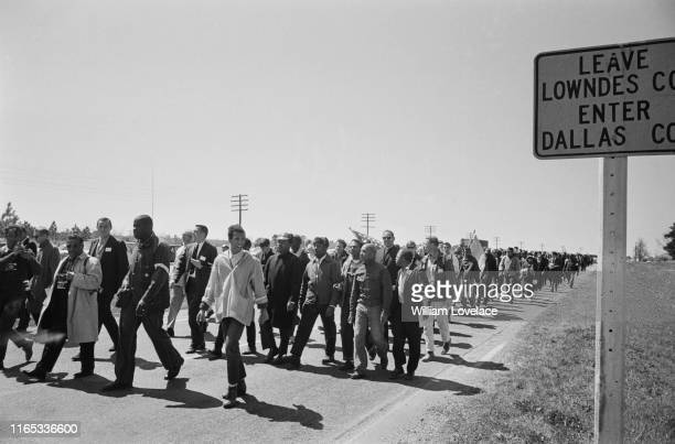 Protesters during the Selma to Montgomery civil rights march Alabama US 21st March 1965