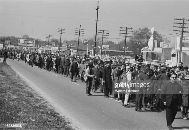 Protesters during the Selma to Montgomery civil rights march, Alabama, US, 21st March 1965.