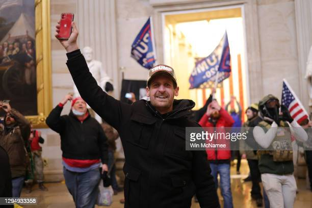 Protesters enter the U.S. Capitol Building on January 06, 2021 in Washington, DC. Congress held a joint session today to ratify President-elect Joe...