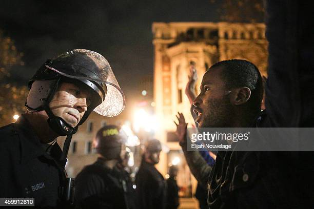 Protesters face off following a Staten Island New York grand jury's decision not to indict a police officer in the chokehold death of Eric Garner on...