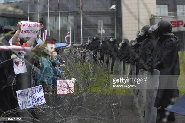 """Protesters face off security forces during """"March of Unity"""" rally against the results of the presidential elections in Minsk, Belarus on September..."""