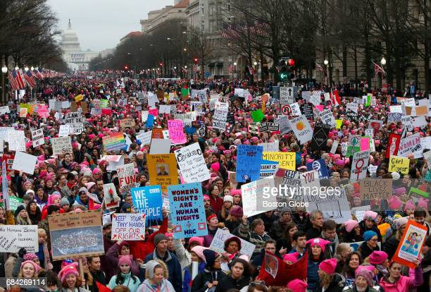 Protesters fill Pennsylvania Avenue during a rally at the Women's March on Washington Jan 21 2017
