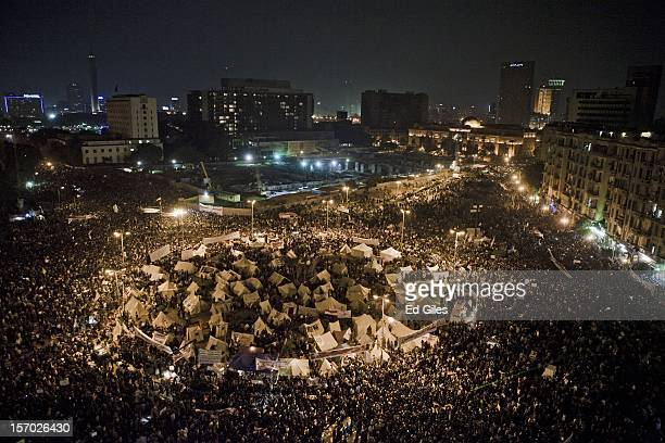 Protesters fill Tahrir Square in Central Cairo during demonstrations against Egyptian President Mohammed Mursi on November 27 2012 in Cairo Egypt...