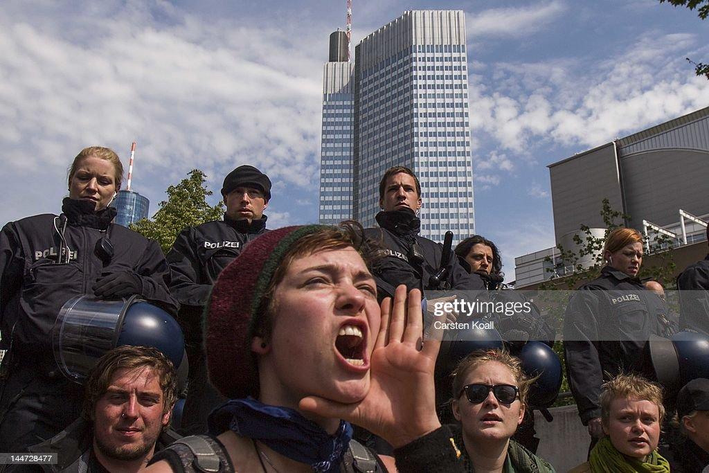 Blockupy Activists Protest In Frankfurt : News Photo