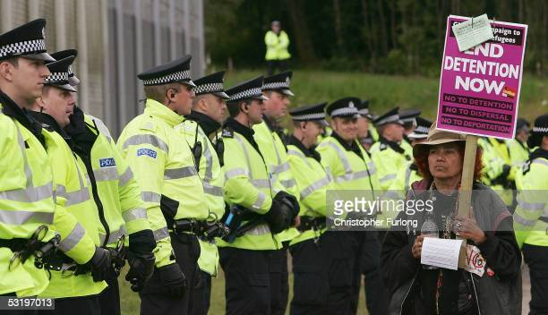 Protesters from G8 Alternatives gather outside Dungavel Dentention Centre July 5 2005 Dungavel Scotland All 38 detainees in the centre were...