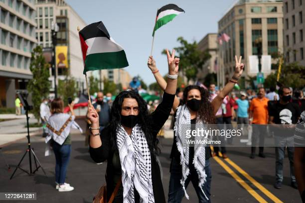 Protesters from multiple Palestinian rights organizations demonstrate outside the White House on September 15 2020 in Washington DC The groups...