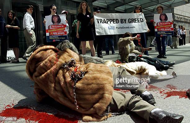Protesters from People For The Ethnical Treatment of Animals protest outside the offices of Vogue Magazine June 2 2003 in New York City PETA...