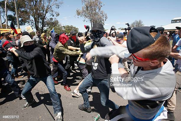 Protesters from Reclaim Australia and the Anti Racism group class during a rally held in Melton on November 22 2015 in Melbourne Australia Protestors...