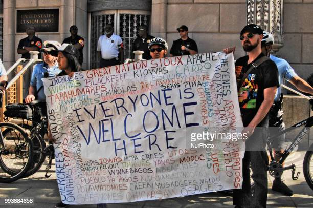 Protesters from refuse fascism rallied in front of the ICE offices at 2nd and Chestnut to call for its dismantle and an end to the Trump...