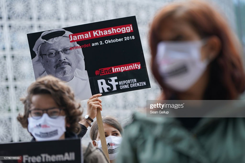 Reporters Without Borders Holds Vigil On Khashoggi Murder 2nd Anniversary : News Photo