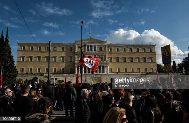 Protesters from the communistaffiliated trade union PAME shout slogans during a demonstration against planned government reforms in Athens Greece...