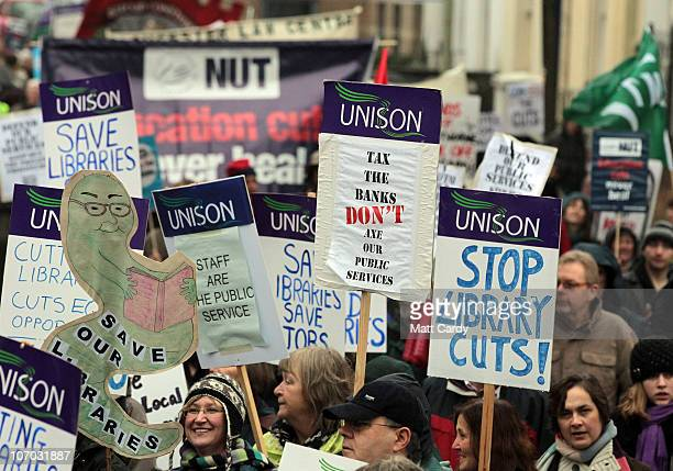 Protesters from the Gloucestershire Anti Cuts Alliance march against planned cuts by the county council on November 20, 2010 in Gloucester, England....