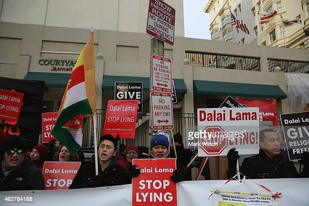 Protesters from the International Shugden Community gather in front of the Washington Hilton where the Dalai Lama was visiting on February 5 2015 in...