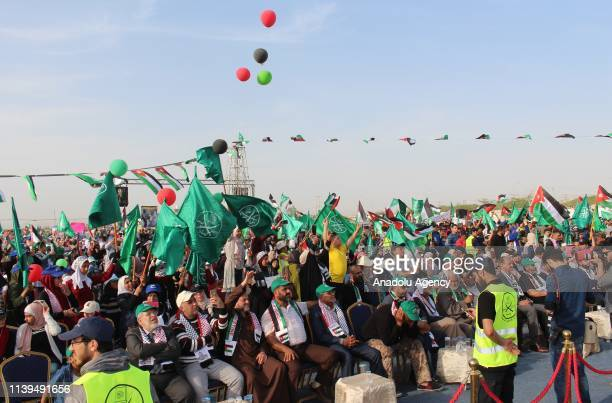 Protesters from the Muslim Brotherhood during a protest in support of the Jordan King and his Custodianship over holy sites in Jerusalem, at the Dead...