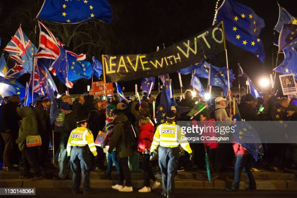 Protesters from the remain and leave Brexit camps demonstrate on College Green on March 12 2019 in London England MPs will begin voting on Theresa...