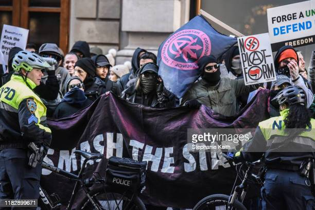 Protesters from various antifascist groups rally against the Proud Boys on November 16 2019 in New York City Two members of the Proud Boys were...