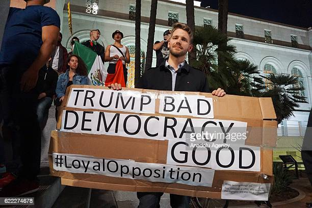 Protesters gather and block the roads of the downtown of LA during a protest against Presidentelect Donald Trump of Republican Party in Los Angeles...