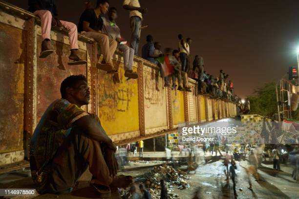 Protesters gather and wait in the sit-in on May 04, 2019 in Khartoum, Sudan.