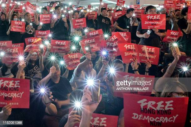 TOPSHOT Protesters gather as they rally against a controversial extradition bill in Hong Kong on June 26 2019 Hong Kong protesters marched to major...