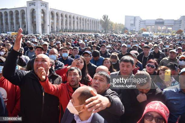 Protesters gather at Ala-Too Square to protest the results of the parliamentary election in Bishkek, Kyrgyzstan on October 07, 2020.
