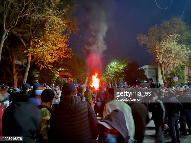 Protesters gather at Ala-Too Square, to protest the results of weekend parliamentary elections, in Bishkek, Kyrgyzstan on October 5, 2020.