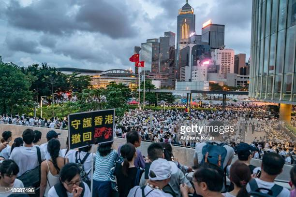 Protesters gather at Central Government Complex after a rally against a controversial extradition law proposal on June 9 2019 in Hong Kong Organizers...