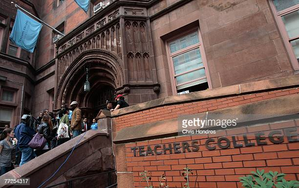 Protesters gather at Columbia University's Teachers College October 10 2007 in New York The rally was held to protest the discovery of a noose on the...