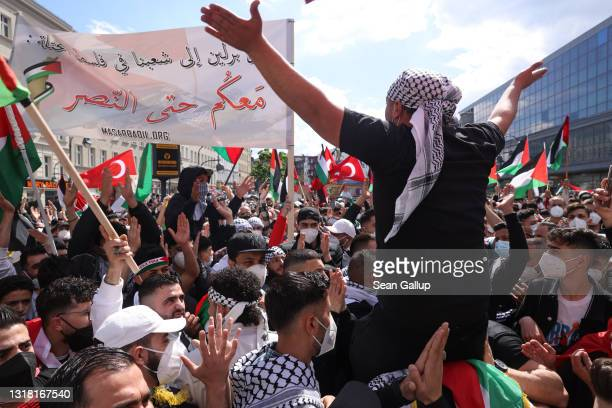 Protesters gather at Hermannplatz to march on Al Nakba Day to demonstrate for the rights of Palestinians on May 15, 2021 in Berlin, Germany. This...