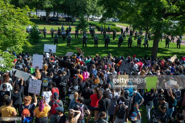 Protesters gather at Lafayette Square Park outside the White House on May 31 2020 in Washington DC Across the country protests were set off by the...