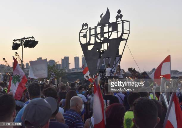 Protesters gather at Martyrs' Square and march towards Beirut Port where a massive explosion took place on the 4th of August, on the first...
