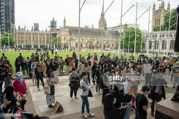 Protesters gather at Parliament Square during a Stop Asian Hate protest at Parliament Square in London. Anti-Asian violence and abuse has escalated...