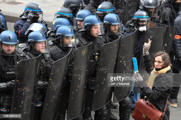 Protesters gather at Place de l' Opera during the 'yellow vests' demonstration on December 15 2018 in Paris France The protesters gathered in Paris...