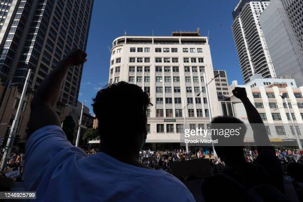 Protesters gather at Sydney Town Hall on June 06 2020 in Sydney Australia The event has been deemed illegal after a lastminute challenge by the New...