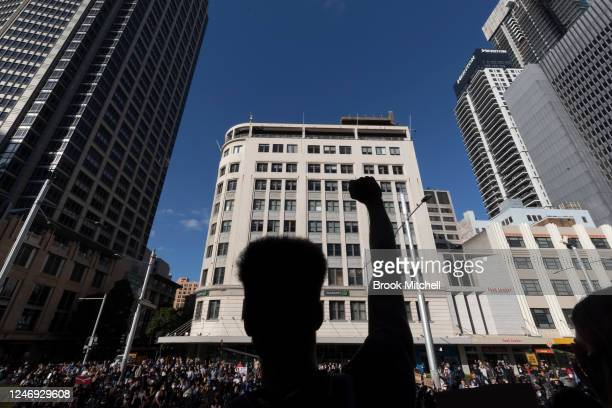Protesters gather at Sydney Town Hall on June 06 2020 in Sydney Australia The event has been deemed illegal on after a lastminute challenge by the...