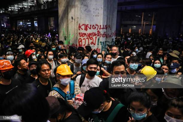Protesters gather at the Ratchaprasong Intersection on November 18, 2020 in Bangkok, Thailand. Pro-democracy protesters amassed at a key intersection...