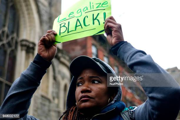 Protesters gather at the Starbucks location in Center City Philadelphia PA on April 15 2018 where days earlier two black men were arrested The arrest...