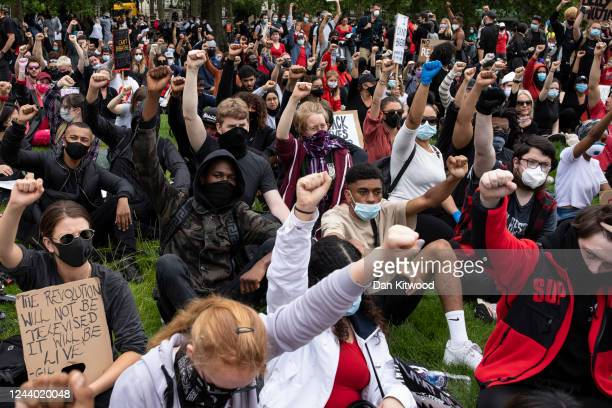 Protesters gather at the start of a Black Lives Matter demonstration and march in Hyde Park on June 3 2020 in London United Kingdom The death of an...