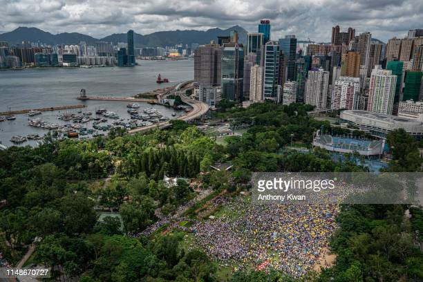 Protesters gather at the Victoria Park ahead of a rally against the extradition law proposal on June 9 2019 in Hong Kong China Hundreds of thousands...