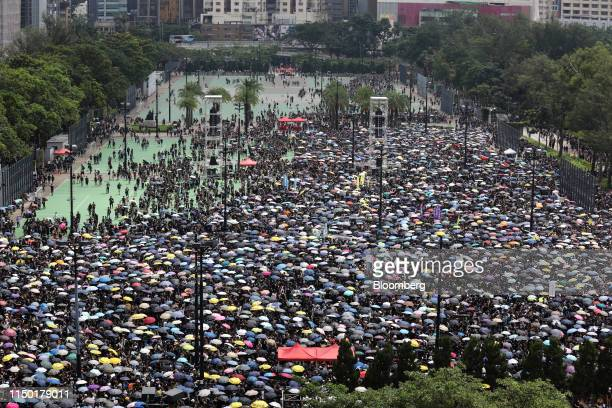 Protesters gather at Victoria Park during a rally in Hong Kong, China, on Sunday, June 16, 2019. Hong Kong is bracing for more demonstrations, with...