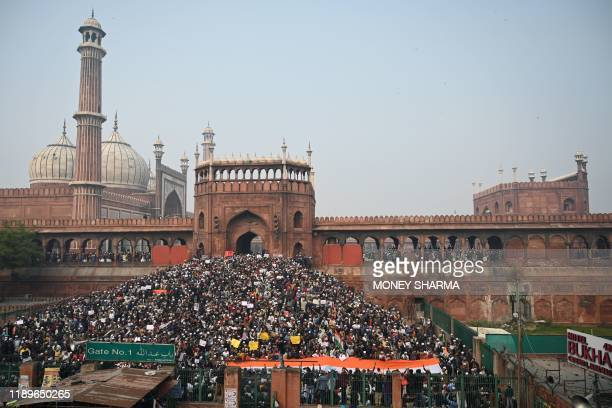 Protesters gather by the Jama Masjid mosque at a demonstration against Indias new citizenship law in New Delhi on December 20 2019 Fresh clashes...