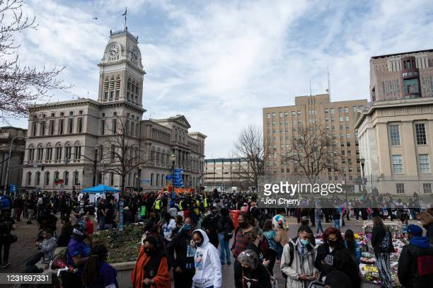 Protesters gather during a Breonna Taylor memorial march in Jefferson Square Park on March 13, 2021 in Louisville, Kentucky. Today marks the one year...