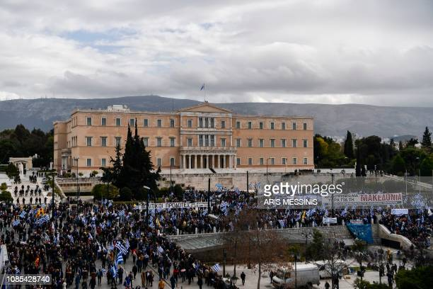 Protesters gather during a demonstration outside the Greek Parliament against the agreement with Skopje to rename neighbouring country Macedonia as...