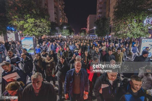 Protesters gather during a protest staged by Citizens' Movement 97000 Odupri Se demanding the resignations of Montenegrian President Milo Djukanovic...