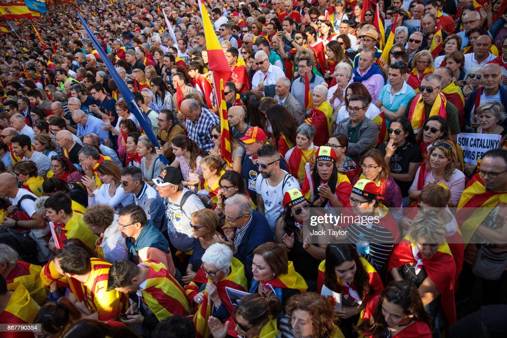 Spanish Unity Demonstration Takes Place In Barcelona : News Photo